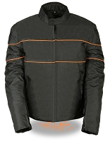 Mens Black Nylon Scooter Jacket, Orange Reflective Stripes