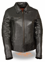 Womens Black Leather Shirt Collar Jacket w Braided Seams