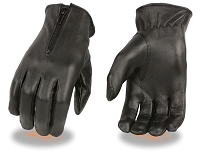 Ladies Black Unlined Leather Driving Gloves w Zipper