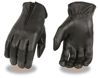 Ladies Black Thermal Lined Leather Driving Gloves w Zipper