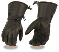 Mens Black Waterproof Leather Gauntlet Gloves Gel Palm