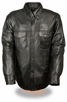 Mens Black Lightweight Leather Lambskin Snap Down Shirt