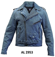 Blue Denim Cotton Classic Motorcycle Biker Jacket