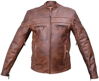 Mens Brown Leather Touring Motorcycle Biker Jacket, Vented, Zipout Liner