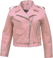 Ladies Classic Pink Leather Motorcycle Biker Rider Jacket Lined