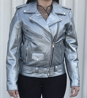 Ladies Classic Silver Leather Motorcycle Biker Rider Jacket Lined