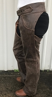 Rustic Brown Buffalo Leather Chaps w 2 Front Jean Style Pockets