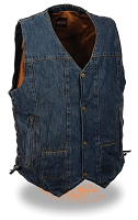 Mens Blue 10 Pocket Denim Snap Front Vest, Side Lace, Gun Pockets