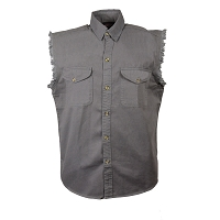 Mens Light Weight Snap Front Grey Sleeveless Denim Shirt