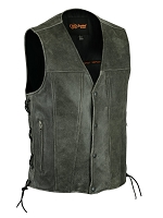 Mens Single Back Panel Gray Leather 4 Snap Vest with Side Lace