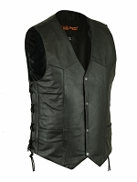 Mens Black Leather 4 Snap Vest w Single Back Panel & Side Lace