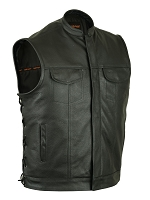 Mens Black Naked Cowhide Vest, Scoop Collar, Hidden Zippers, Side Laces