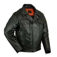 Mens Vented Black Leather Utility Cruising Motorcycle Jacket, Zipout Liner