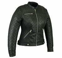 Womens Black Lightweight Naked Leather Motorcycle Jacket, Zipout Liner