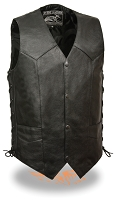 Mens Black  Leather 4 Snap Biker Vest w Gun Holster Pocket