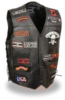 Mens Black Solid Leather Vest w 23 Patches, Side Laces