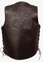 Mens Black Solid Leather Vest w Embossed Eagle, Stars