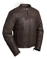 Mens Brown Leather Cafe Style Scooter Biker Style Jacket