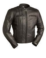 Mens Black Leather Vented Racing Jacket w Zipout Liner - Last One in Large!