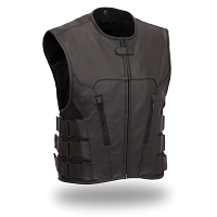 Mens Black Leather SWAT Team Style Motorcycle Vest