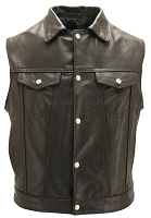 Mens Denim Style Black Leather Vest With Concealed Pistol Pockets
