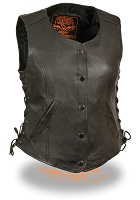 Women's 5 Snap Black Leather Vest w Side Lace, Gun Pockets