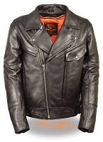 Mens Black Leather Motorcycle Jacket w Utility Pockets, Side Belt