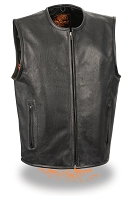 Mens Black Leather Biker Zipper Front Vest, Side Laces, Collarless, Seamless Back