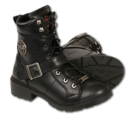 Ladies Black Leather Lace Up Boots w Side Buckle, Plain Toes