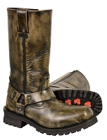 Mens Distressed Brown Leather Classic Harness Square Toe Boots, 11
