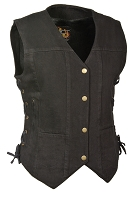 Ladies Black Denim Snap Front Vest, 6 Pockets & Side Laces