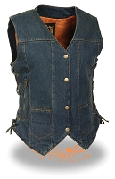Ladies Blue Denim Snap Front Vest, 6 Pockets & Side Laces