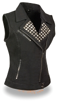 Ladies Black Denim Zipper Front Vest w Studded Spikes