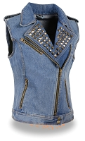 Ladies Blue Denim Zipper Front Vest w Studded Spikes