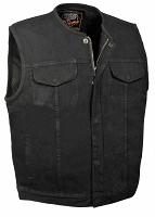 Mens Collarless Concealed Zipper Black Denim SOA Biker Vest