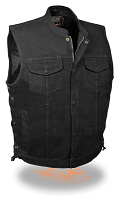 Mens Hidden Zipper/Snap Black Denim Vest w Gun Pockets, Side Lace