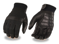 Mens Leather and Perforated Mesh Riding Summer Gloves, Gel Palm