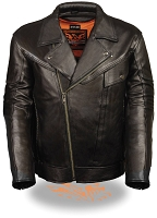 Mens Black Braided Leather Motorcycle Jacket w Utility Pockets