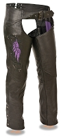 Ladies Black Leather Chaps w Purple Wing Embroidery and Rivets