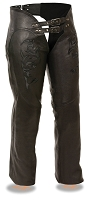 Ladies Black Leather Chaps w Black Tribal Embroidery