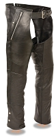 Mens Black Naked Leather Chaps, 4 Pockets, Snap Out Thermal Liner