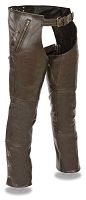Mens Brown Leather Chaps, 4 Pockets, Snap Out Thermal Liner
