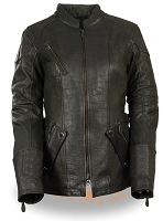 Ladies Black Leather 3/4 Length Biker Jacket, Gator Style, Zipout Liner