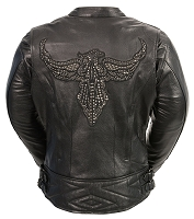 Ladies Black Leather Biker Jacket Phoenix Embroidery, Studding