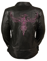 Ladies Black Leather Biker Jacket w Purple Phoenix Embroidery, Studding