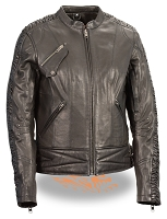 Ladies Black Lightweight Goatskin Leather Biker Jacket w Crinkled Arm Detailing
