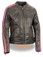 Ladies Black Lightweight Goatskin Leather Biker Jacket w Hot Pink Crinkled Arm Detailing