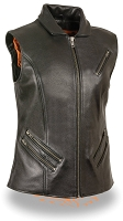 Ladies Black Leather Zipper Front Biker Vest w Shirt Collar