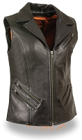 Ladies Black Leather Zipper Front Motorcycle Vest w Lapel Collar