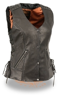 Ladies Black Light Weight Leather Lace to Lace Front Snap Vest